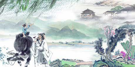 Traditionelles chinesisches Gemaelde des Qingming - Totengedenk - Festes.