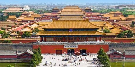 Blick auf die Verbotene Stadt in Peking