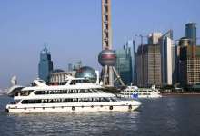Huangpu River with Shanghai Pudong view and ferries