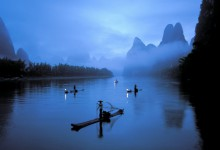 fisherman and boat of guilin in China