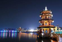 pagoda with light on west lake of hangzhou