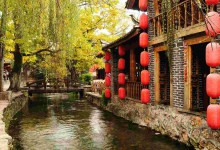 red lantern and houses near west lake of hangzhou, china