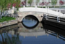 stone bridge on west lake in hangzhou of china