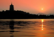 sunset of westlake in hangzhou of china